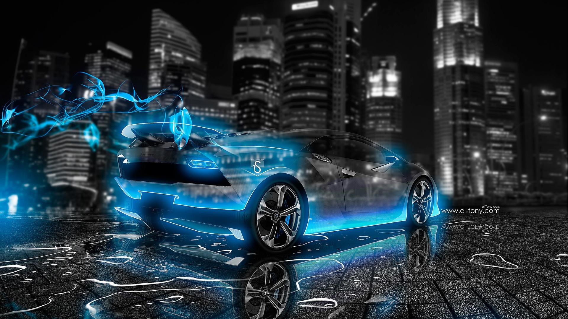 Lamborghini Sesto Elemento Crystal Blue Energy Car 2014 Design By