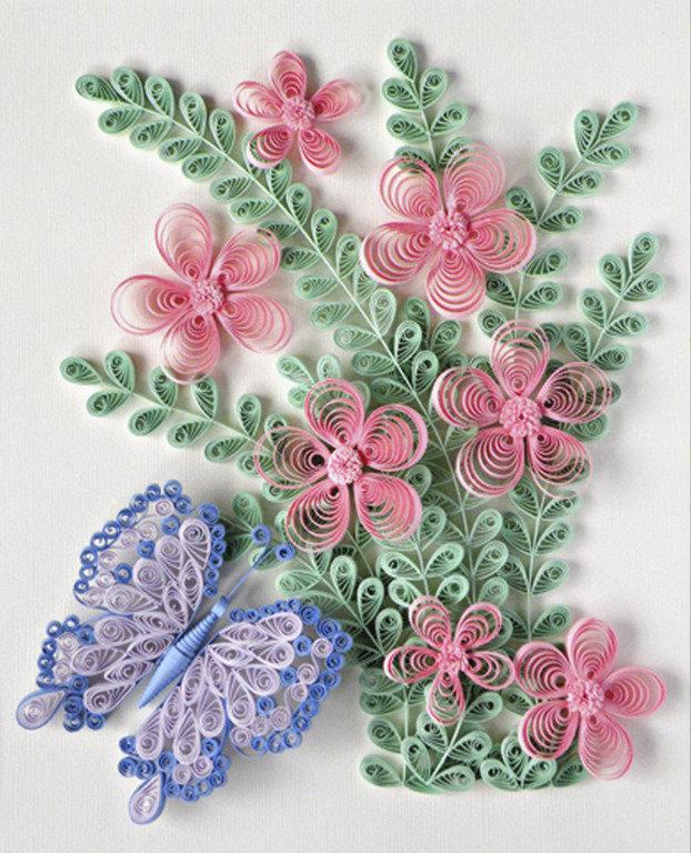Открытки с цветами своими руками квиллинг