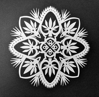 Сделать, киригами снежинка открытка