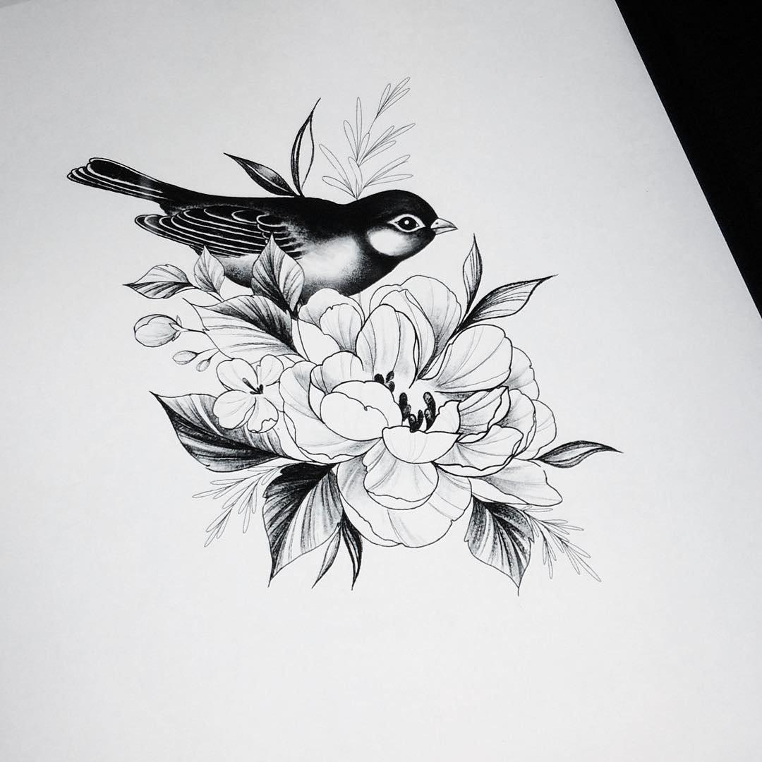 птицы на цветах эскиз тату этот день учитель