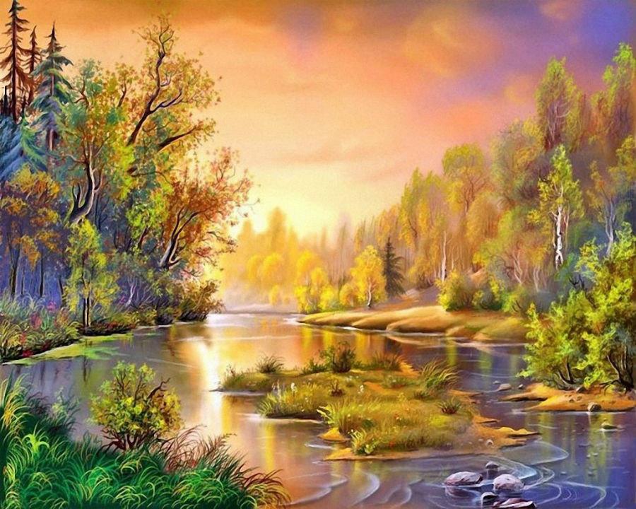 Открытки с пейзажами рисованные