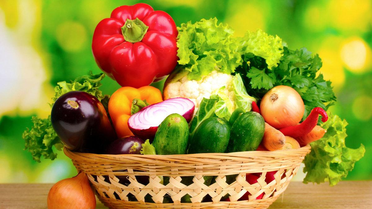 Для, картинка корзина с фруктами и овощами