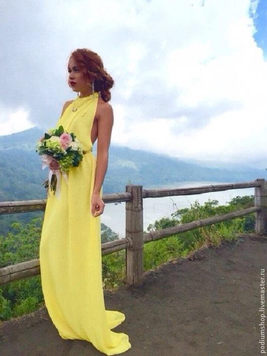 4731d13d0b9 «Шифоновое желтое платье с открытой спиной » — карточка пользователя Анна в  Яндекс.Коллекциях