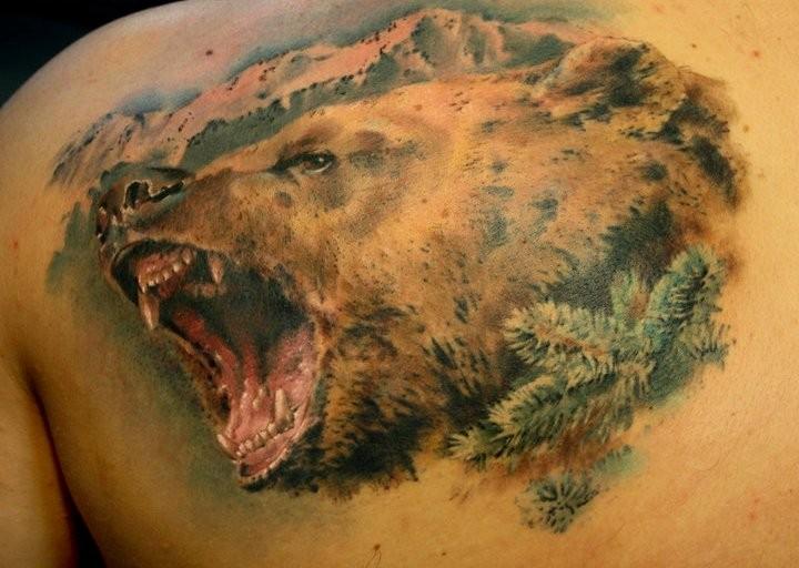 фото тату медведь на спине
