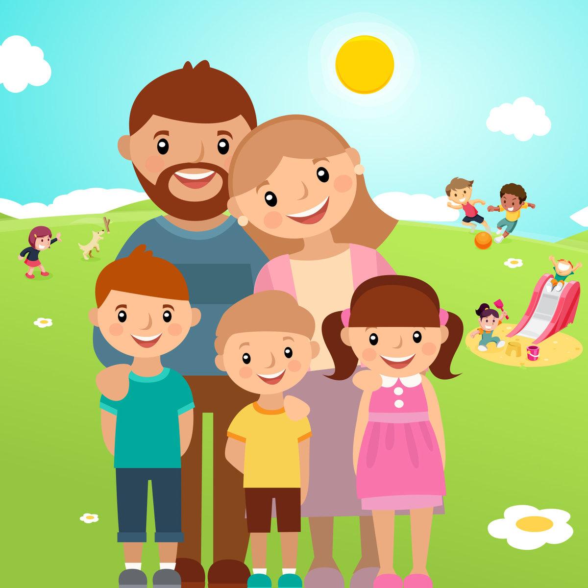 Открытка лет, мультяшные картинки семьи