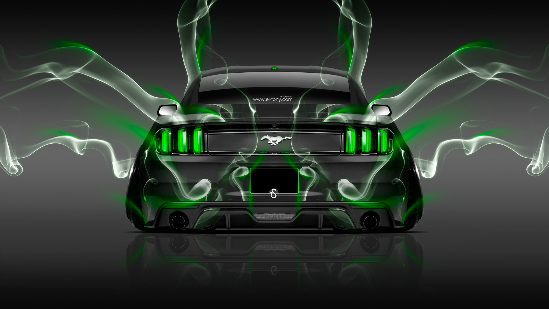Ford Mustang Muscle Back Smoke Car 2014 Green Neon Hd Wallpapers