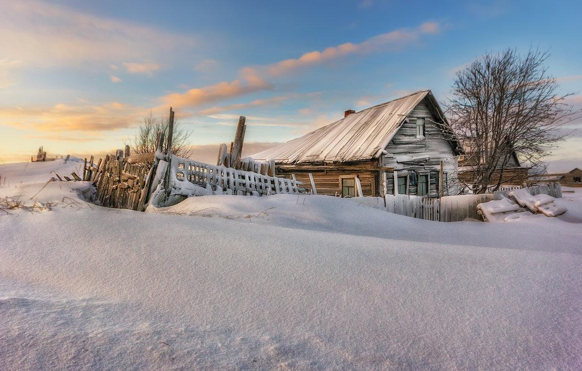 Картинка зима деревня