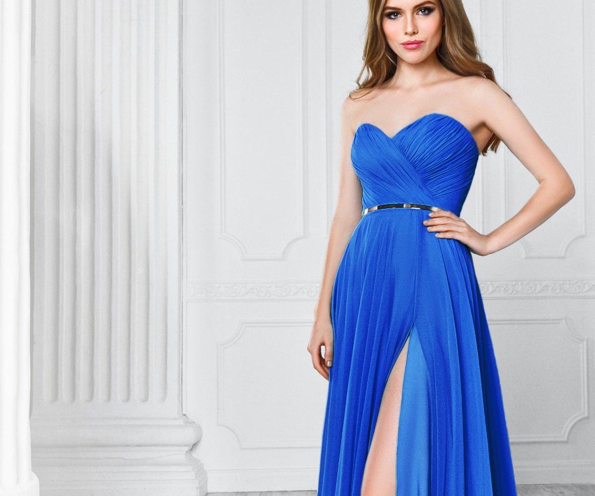 было самое красивые длинные синие платья фото отличная