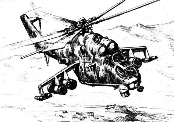 рисунки вертолетов карандашом военные