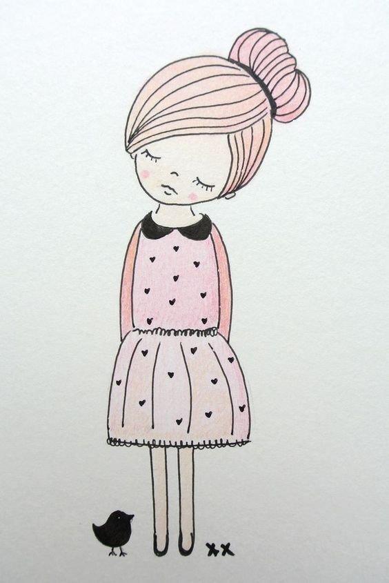 Картинки про девочек для срисовки, тебя анимация