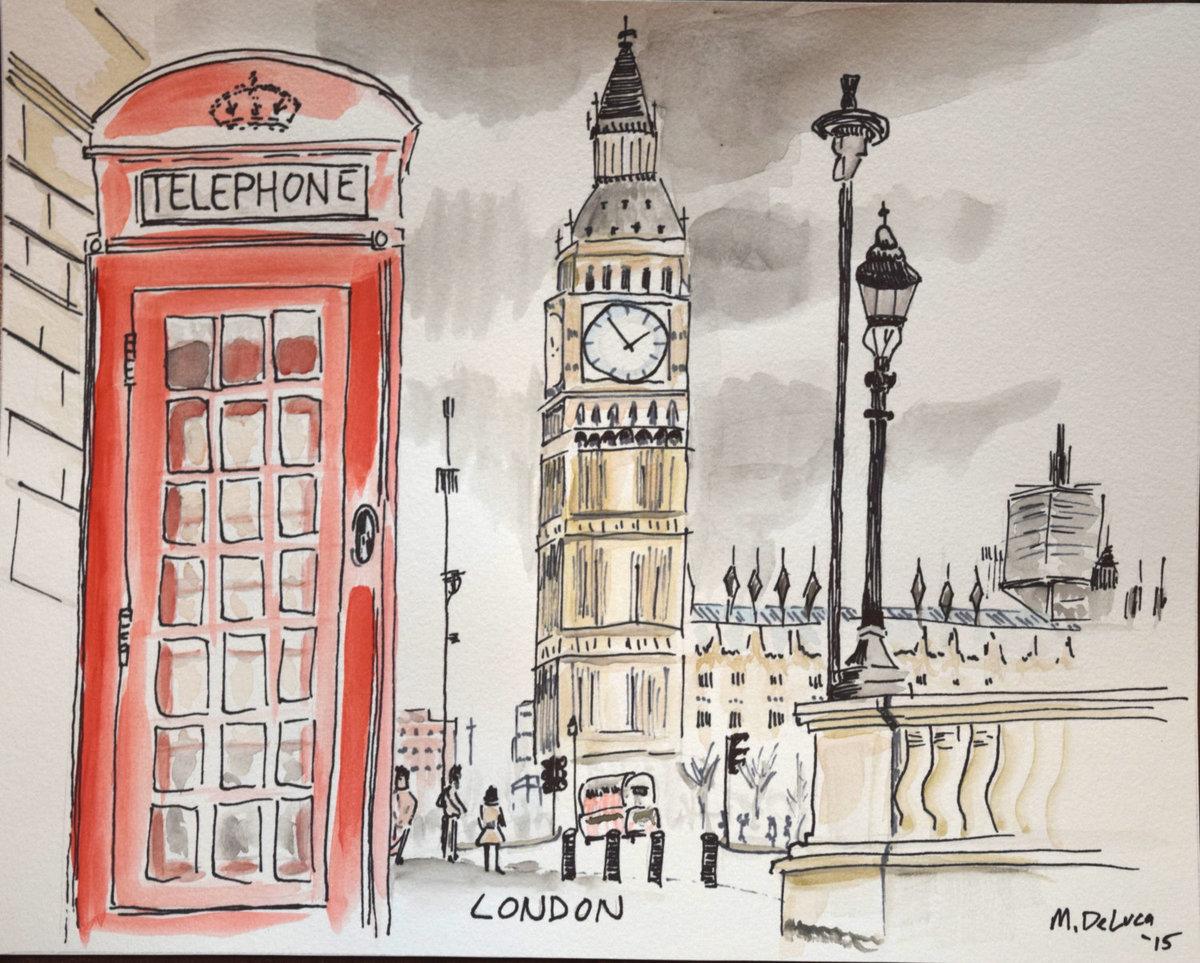 Открытки с лондоном рисованные, маму