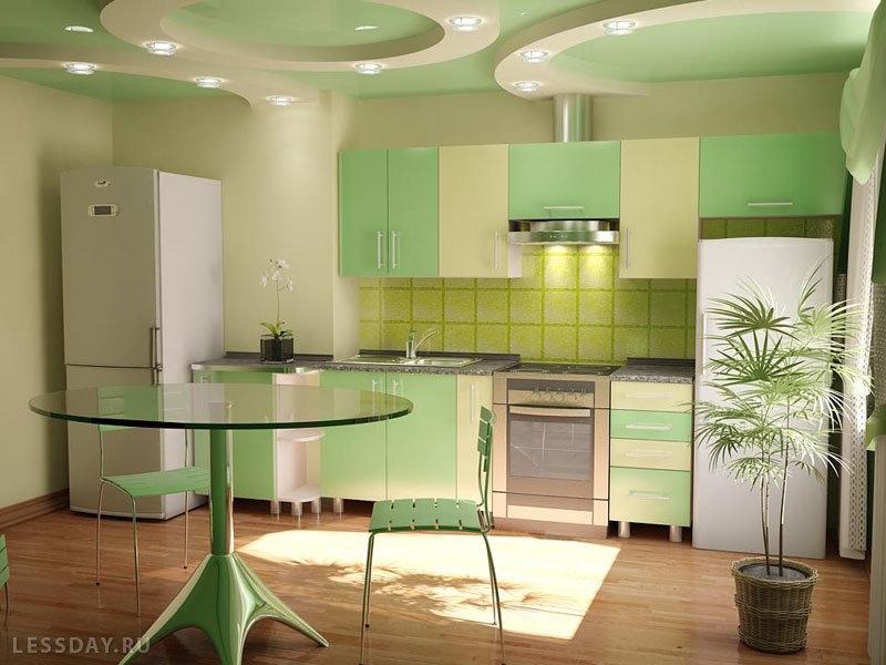 кухня в зеленых тонах дизайн фото обычной жизни
