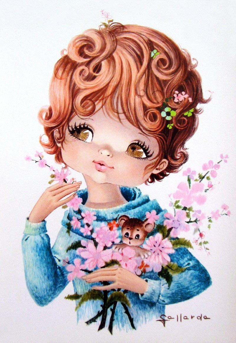 Девочки с цветами на открытках