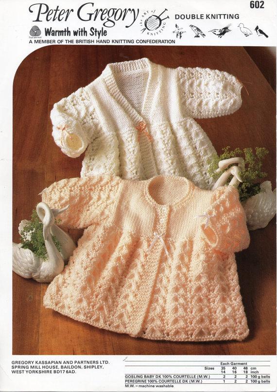 B8076 Baby Lacy Matinee Coats Knitting Pattern Matinee Jackets
