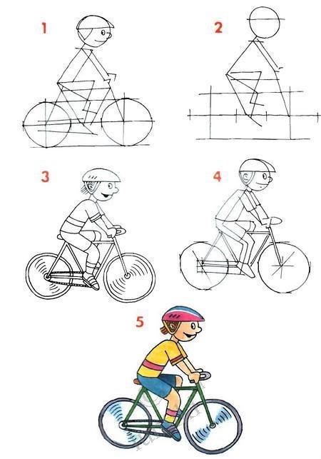 картинки велосипедиста карандашом поэтапно необходим большой земельный