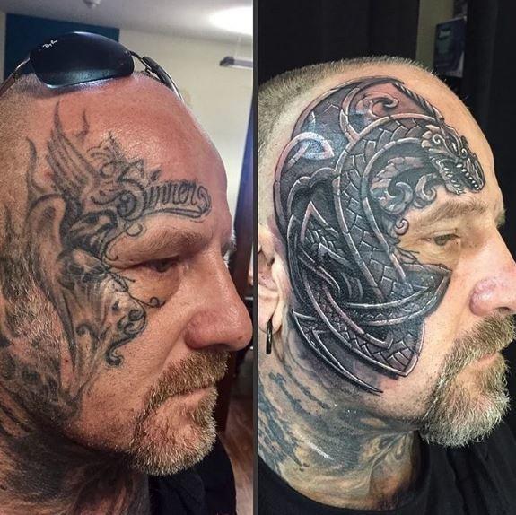 Latina dragon facial tattoo