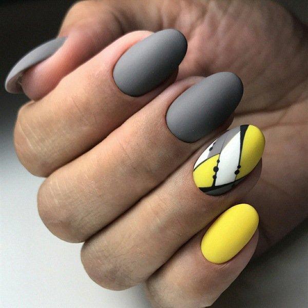 Дизайн ногтей синий с желтым фото 2018