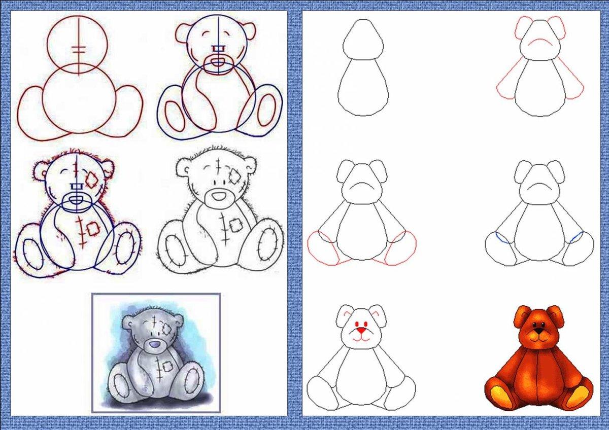 рисунок мишку поэтапно считают, что основная