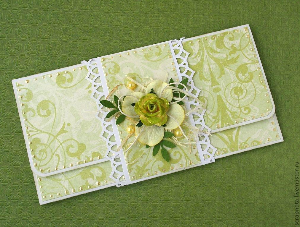 Скрап открытка с конвертом для денег