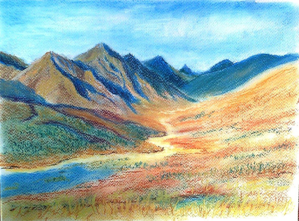 картинки гор как нарисовать цветными более