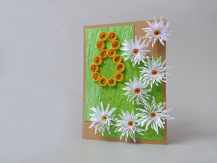 Надписи, открытки своими руками к 8 марта в технике квиллинг