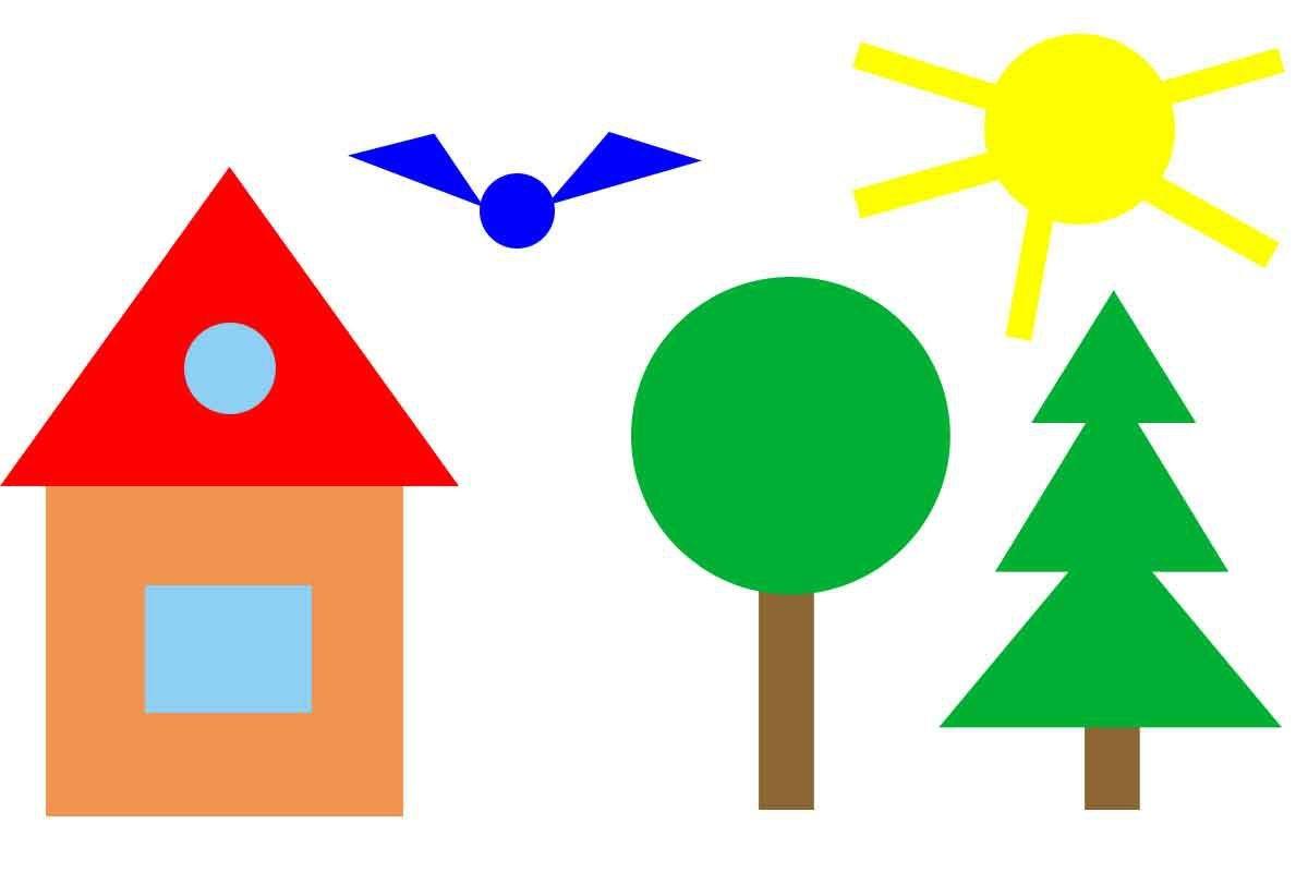 Доброе, картинки из геометрических фигур для детей 3-4 лет