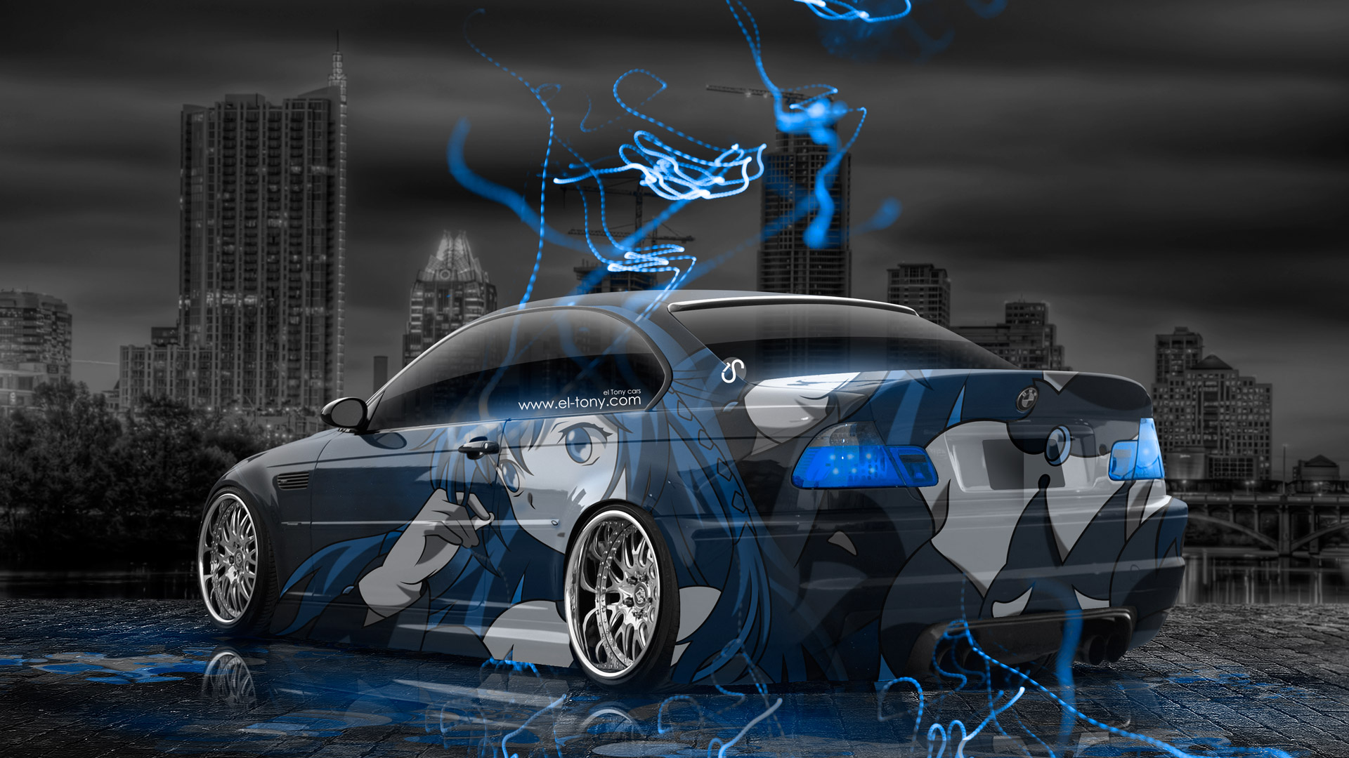 BMW M3 E46 Anime Girl Aerography City Car 2014 Photoshop Blue Neon ...