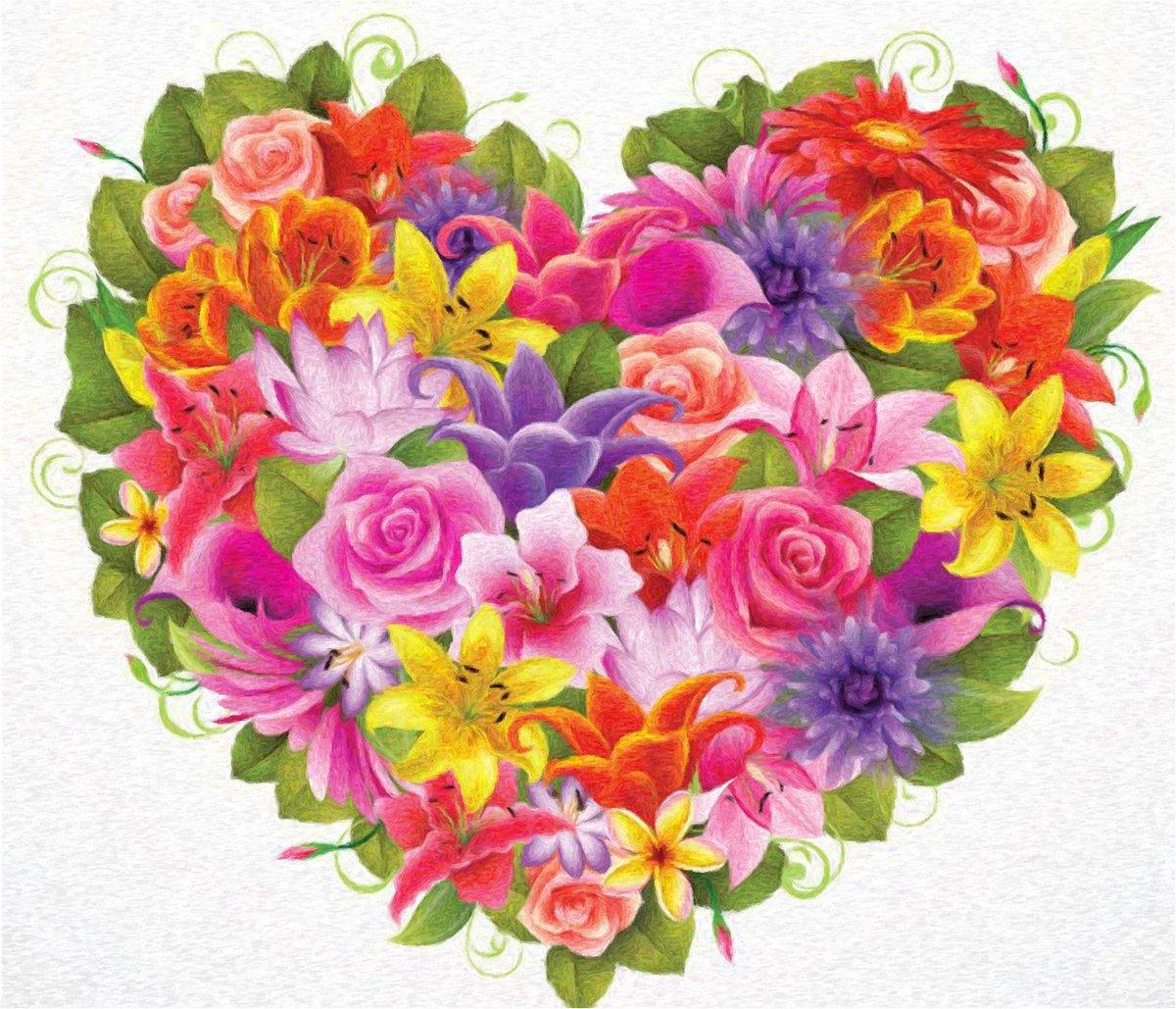 Цветы букет рисунок цветной, пожеланием
