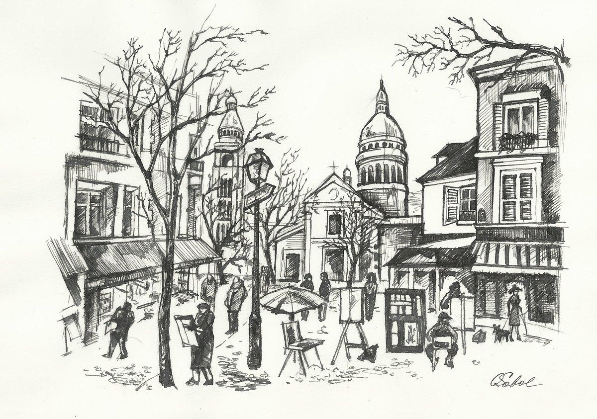 Картинки город тушью
