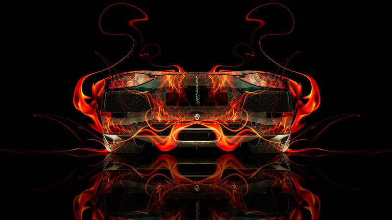Lamborghini Aventador Back Fire Abstract Car 2014 HD