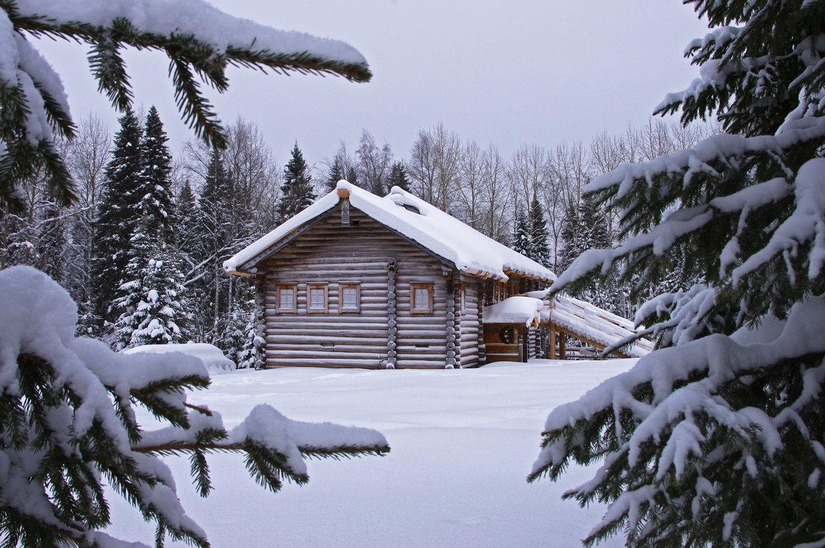 Картинки дом в деревне зима