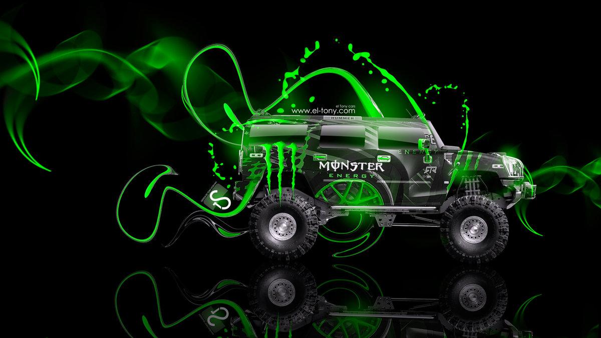 Monster Energy Hummer H2 Fantasy Green Plastic Car