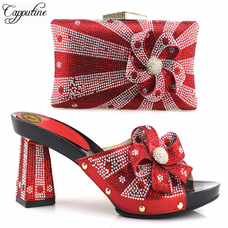 f3a876e8d8b Capputine New Arrival Red Color African Matching Shoes And Bags Italian In  Women Party Shoes and