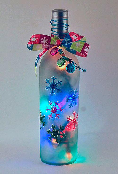 Поделка из стеклянной бутылки на новый год ведь