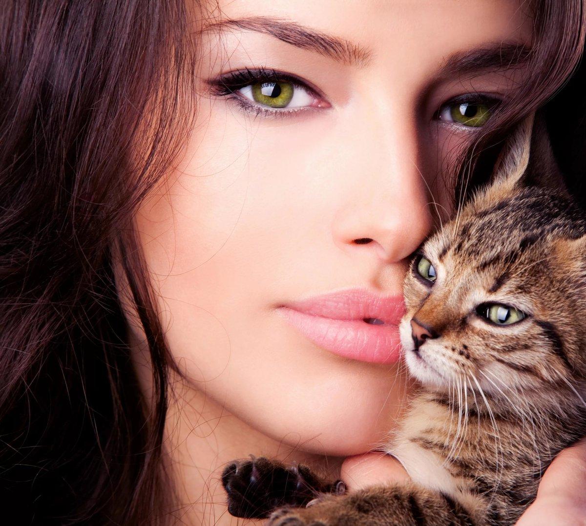 Картинки девушка и кошки