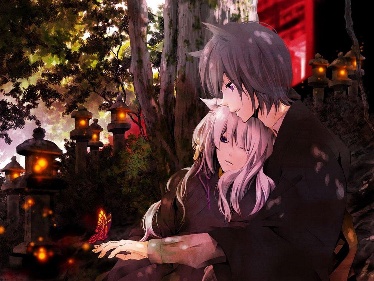 Картинки аниме парень и девушка романтика