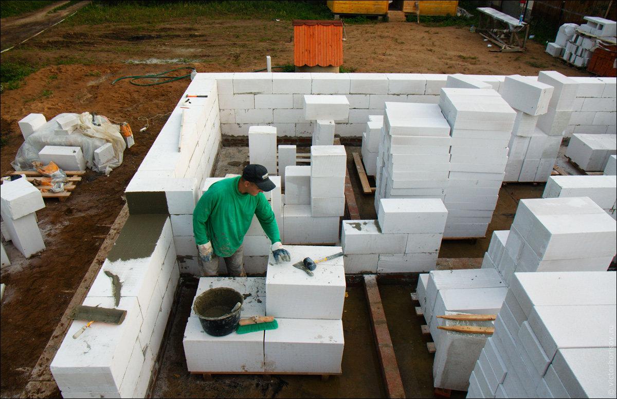 стены из пенобетона технология