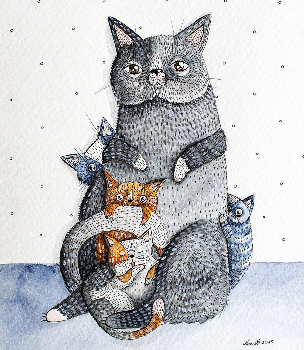 Коты смешные картинки нарисованные, сделать красивую маленькую