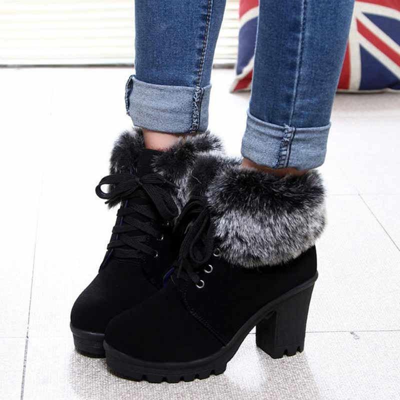 зимние ботинки женские фото на каблуке