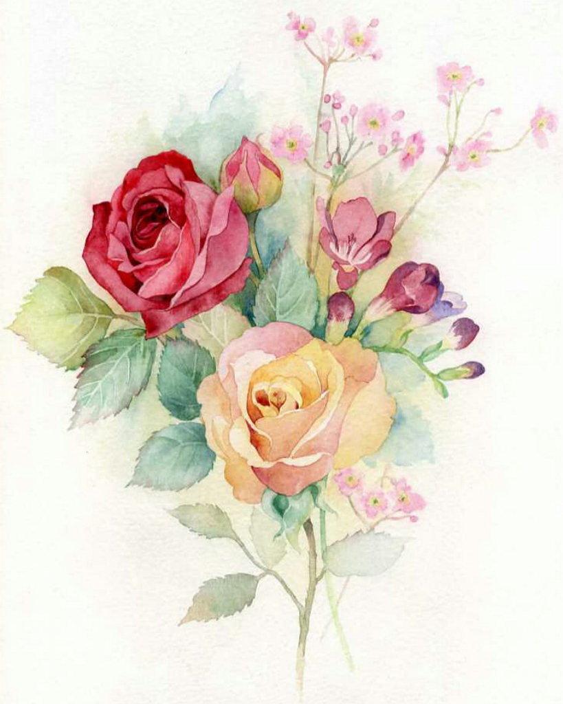 Для, открытки букеты цветов рисованные