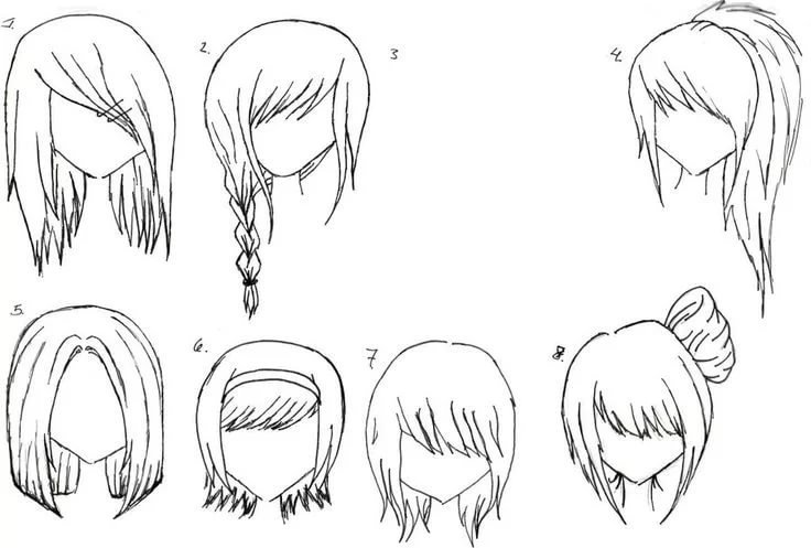 How To Draw Female Anime Hairstyles Anime Hair Anime And De Card