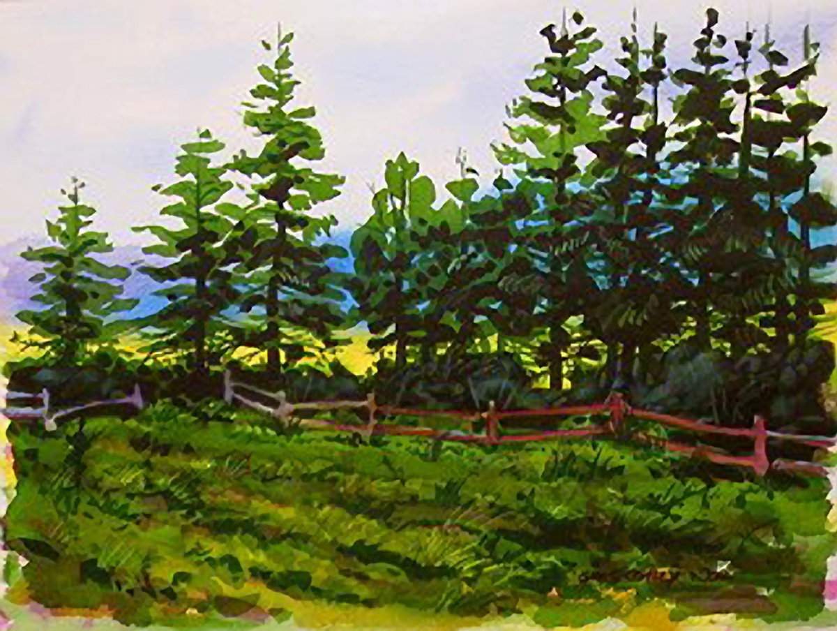 Лес рисунок гуашью, днем