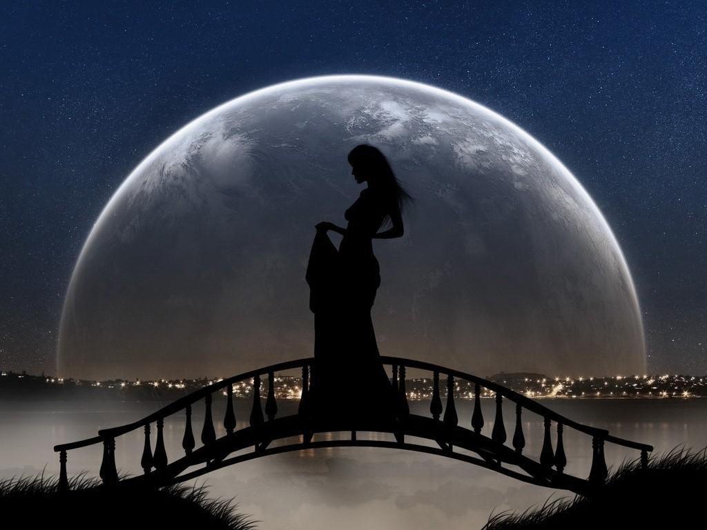 Поздравление, картинки с луной и девушкой