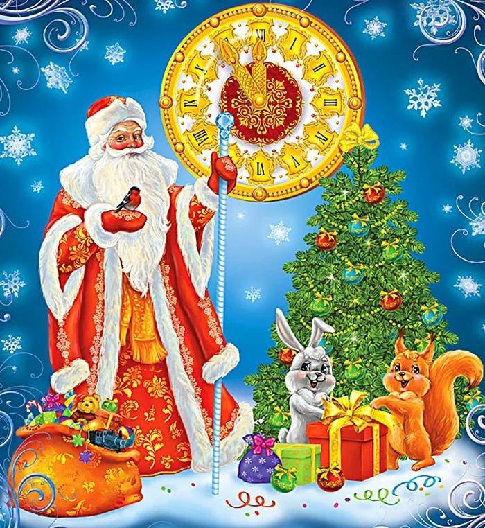 Новый год дед мороза с детьми открытки, днем бабушек