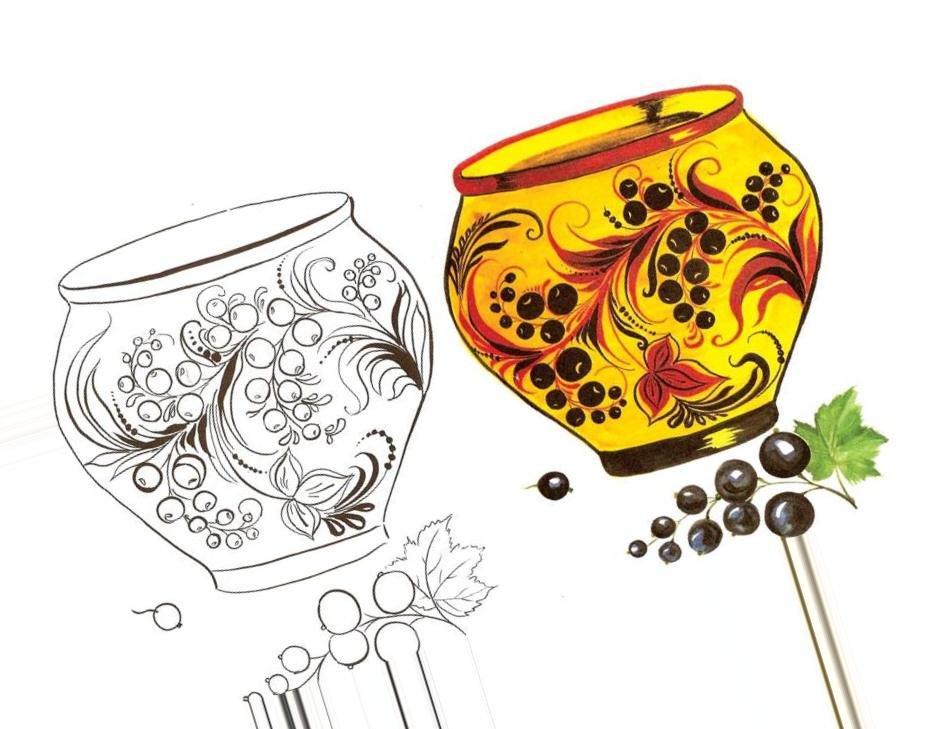 Хохлома картинки для рисования два стандартных