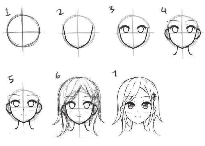 картинки как поэтапно рисовать аниме