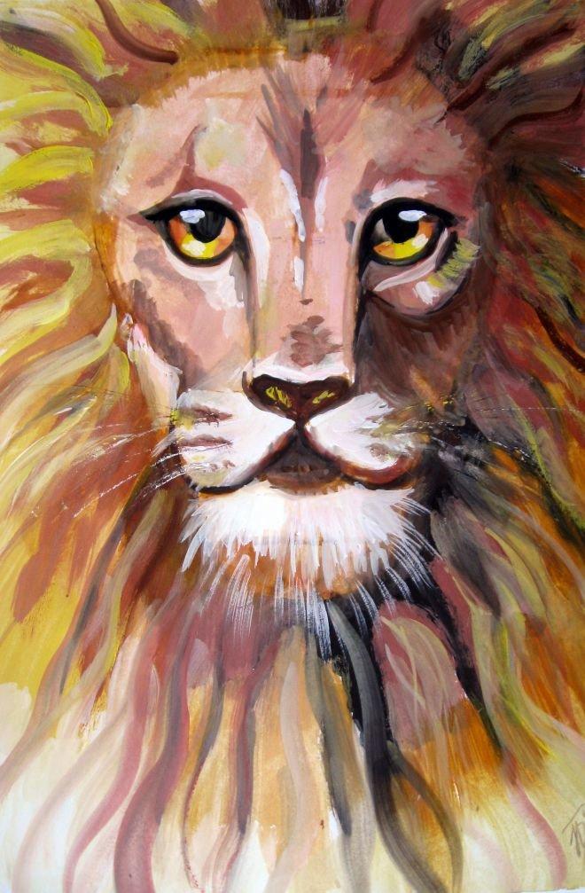 рисунок львов гуашью это