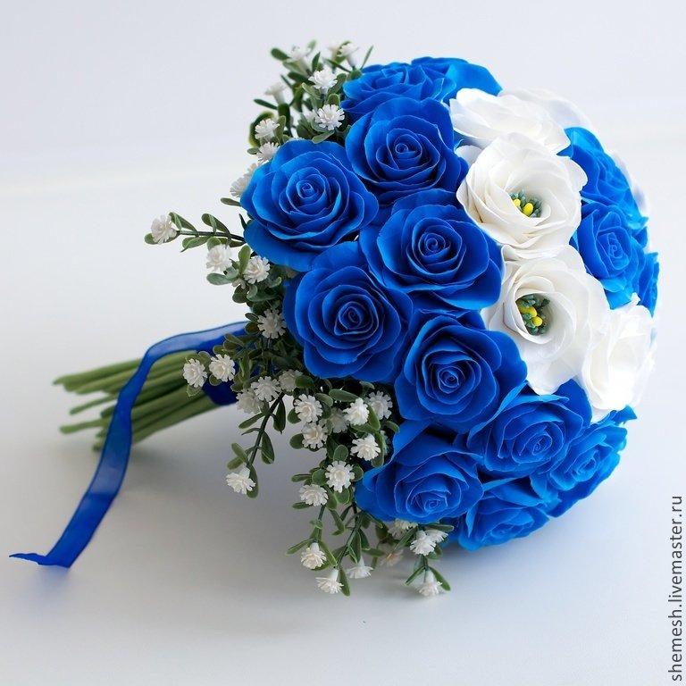 Свадебный букет из синих цветов фото