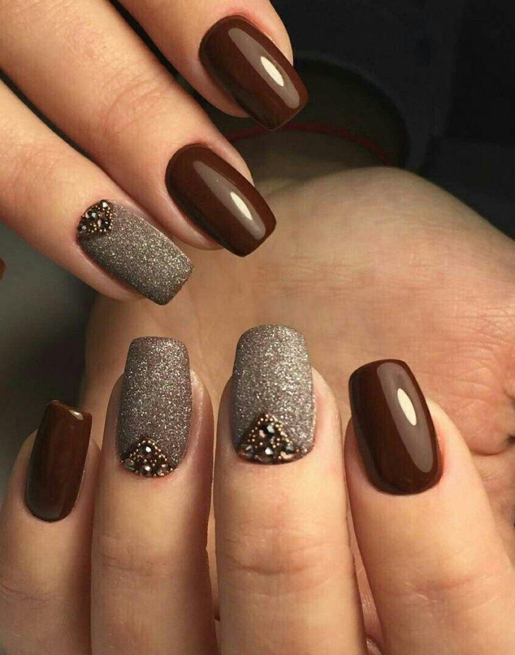 дизайн ногтей коричневый цвет фото очень