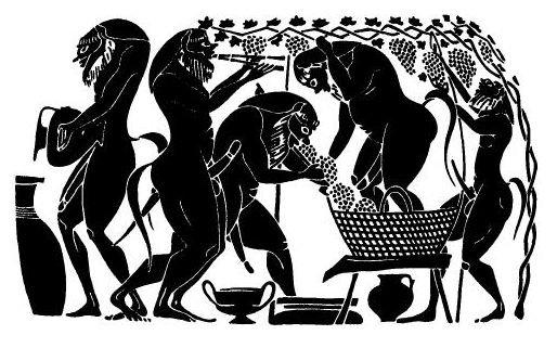 Авлос. Силены, выжимающие виноградный сок под звуки авлоса (по аттической чернофигурной амфоре мастера Амасиса. ок 530 до н. э.)